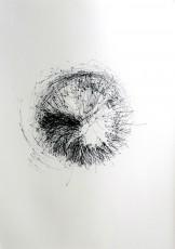 dessin 2, dispositif avec tour électrique, marqueur sur papier, 100x70cm, 2013