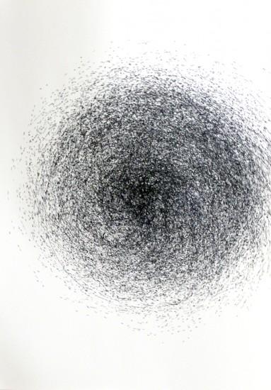 dessin 3, dispositif avec tour électrique, marqueur sur papier, 100x70cm, 2013