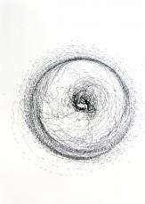 dessin 5, dispositif avec tour électrique, marqueur sur papier, 100x70cm, 2013
