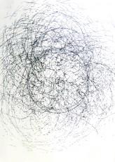 dessin 6, dispositif avec tour électrique, marqueur sur papier, 100x70cm, 2013