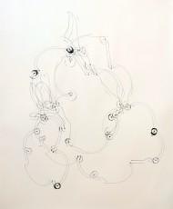 trajectoire 1, marqueur sur papier, 120 x 100 cm