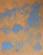 bleu sur fond orange, 130x100cm