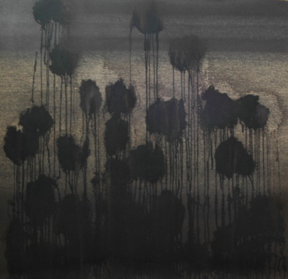 Encre de chine sur papier de verre 5, marouflé sur dibond, 133x135cm