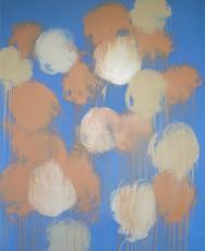 jaune orange sur fond bleu, 160x130cm