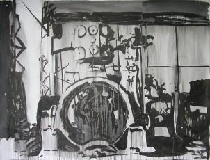 Machine 1, encre de chine sur papier, 150x200 cm