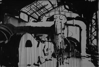 machine 2, encre de chine sur papier, 150x200 cm