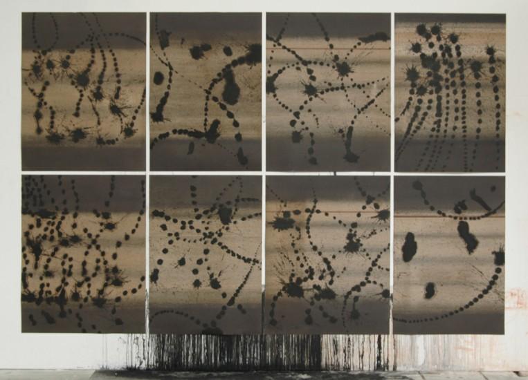 Sans titre, polyptyque, encre de chine sur papier de verre, 252x380cm