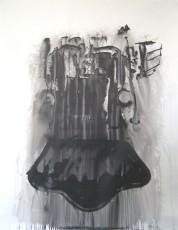 Train, encre de chine sur papier, 100x75cm