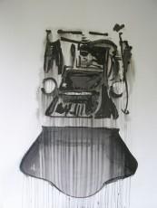 Train, encre de chine sur papier, 200x150 cm