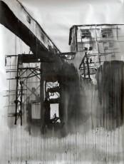 tunnel suspendu, encre de chine sur papier, 200x150 cm